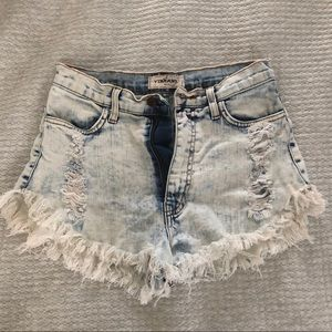 High waisted, destroyed jean shorts